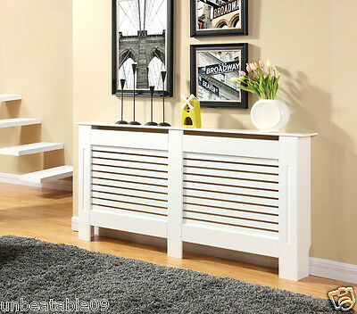 White Painted Radiator Cover Cabinet Wood MDF Traditional Modern Adjustable