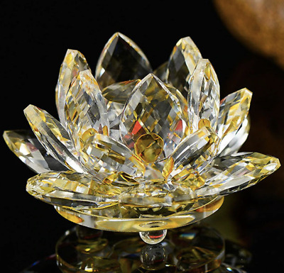 100mm Gold Quartz Crystal Glass Lotus Flower Sphere Crystals With Gift Box