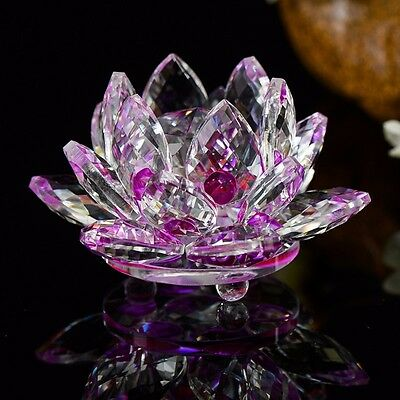 100mm Purple Quartz Crystal Glass Lotus Flower Sphere Crystals With Gift Box