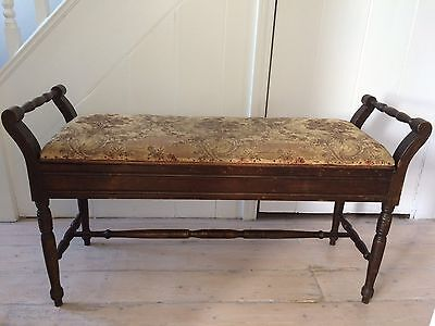 Antique Duet Piano Stool /  Hall Bench /  Window Seat with Storage