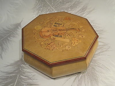 Vintage Wooden Lacquered Jewellery Music box hexagon shape and Lovely Design