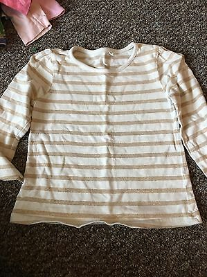 Gold And Cream Striped Girls Top Age 18-24 Months
