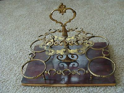 Antique French Wood & Metal Cosmetics Perfume Holder Vintage Dresser Tray RARE