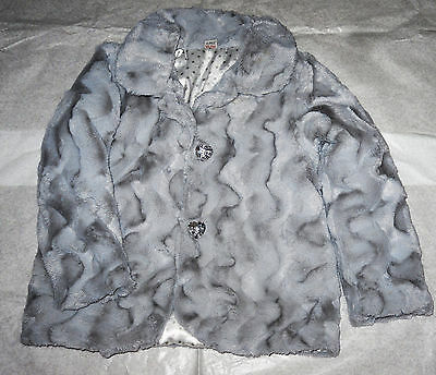 Tu A Very Very Soft Silver Grey Little Girls Fur Coat / Age 4/5 Years