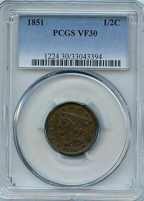 1851 1/2c PCGS VF 30 (VERY FINE) BRAIDED HAIR HALF CENT