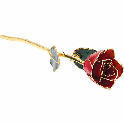 """Real Lacquered 12"""" inch Red Rose With 24k Gold Trim FREE Shipping New & Gift Box"""