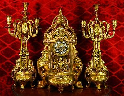 Impressive XL antique 19th c French solid gilt brass mantle clock garniture set