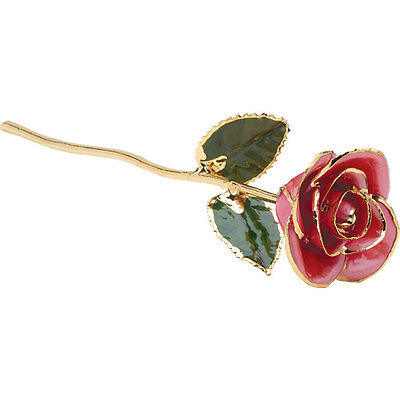 """Real Lacquered 12"""" inch Pink Rose With 24k Gold Trim FREE Shipping New Gift Box"""