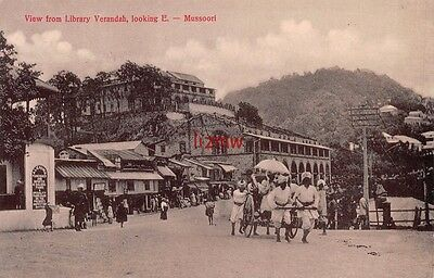 India Mussoorie View From Library Verandah Looking East Men Pull Carriage Card