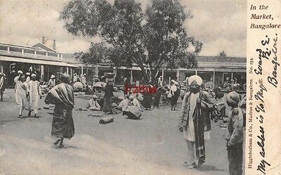 India Bangalore In The Market Native Traders Under Tree Used 1906 Printed Card