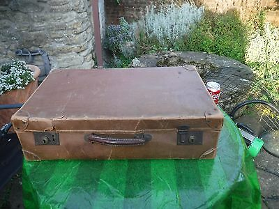 Vintage Lightweight Tan Coloured Suitcase