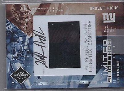 Hakeem Nicks Auto 2009 Donruss Limited Slideshow Authentic Autograph 07/50