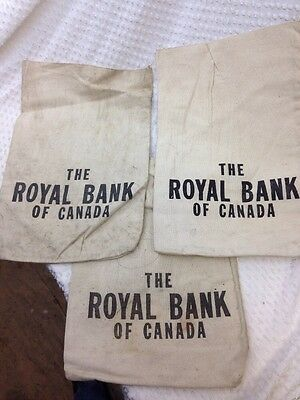 Vintage Canvass  Cloth Money Bags  Royal Bank Of Canada (3) Old Bags