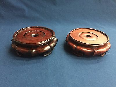 "Pair of Vintage Chinese Hardwood Stands for Bowl Vase 4"" Inside & 1 3/4"" High"