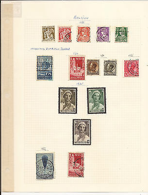 BELGIUM. 1930's. SEVEN SHEETS OF MINT AND USED STAMPS.