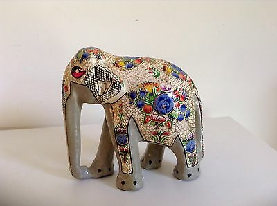 """Hand Painted Grey/Floral Elephant.Approx 4"""" Tall"""