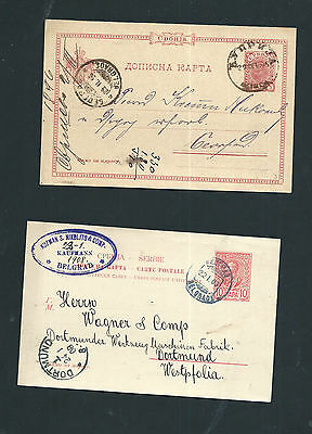 Serbia - 2 Old Stationery Cards - 1896 & 1903