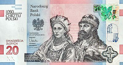 Poland 20 zlotych 2016 Commemorative Banknote 1050 Anniversary of Polish Baptism