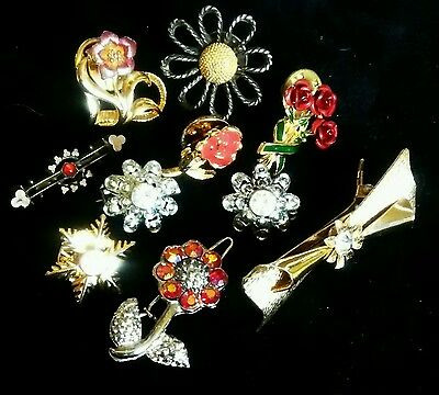 Lot Of 10 Flower Lapel Hat Pins Brooches
