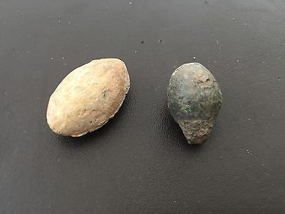2 Roman Lead Sling Shot Bullets Circa 1st Or 2nd Century AD