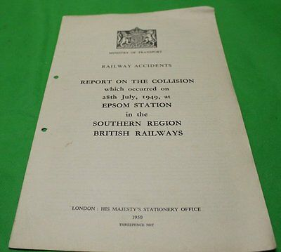 Ministry Of Transport Railway Accident Report Collision Epsom Station 1949