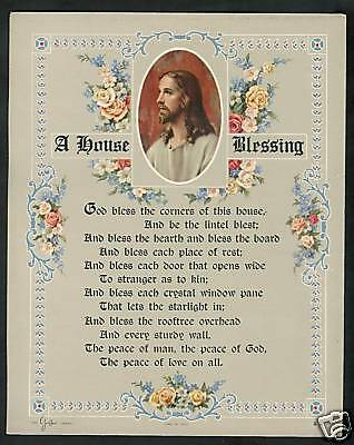 """VINTAGE Catholic Victorian House Blessing verse Print w picture of Jesus 8x10"""""""