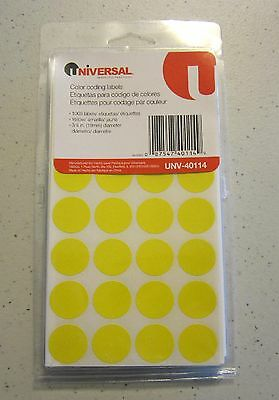 "1008 Yellow Universal 3/4"" Round Color Coding Labels Sticker Dots Inventory Code"