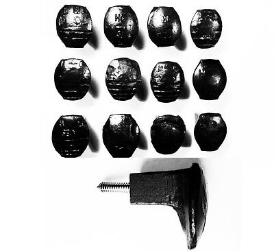 12 Black Easy Screw Railroad Spike Knobs Door Pulls Cupboard Antique Vintage Old