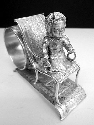 Kate Greenaway Silver Plate Figural Napkin Ring Holder c1880 - Girl on Chair #98