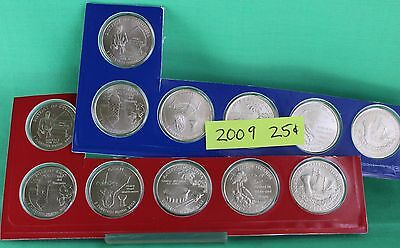 2009 P and D Quarter DC and US Territories 12 Coins State Quarters Series BU 25c