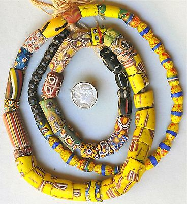 """32"""" Strand (70 Beads) of Mixed Venetian Glass Beads - African Trade Beads"""