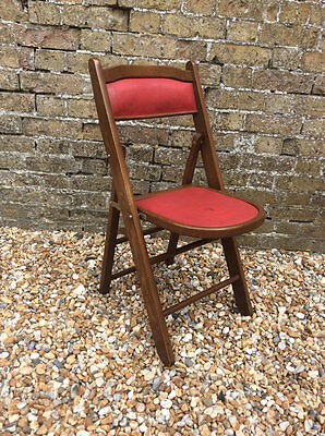 1950's Mid century Mahogany red vinyl Centa folding chair Excellent quality