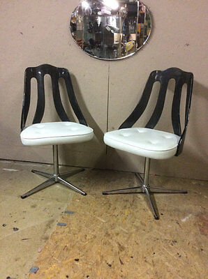 A pair of Retro 1960's Chrome and Lucite dining chairs Mid Century