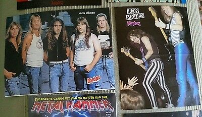 IRON MAIDEN 1980s lot of 2 pinups posters pin up magazine Dickinson clipping