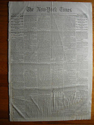 New York Times newspaper, 12/1/1865. Railroad Disaster. Habeas Corpus Restored