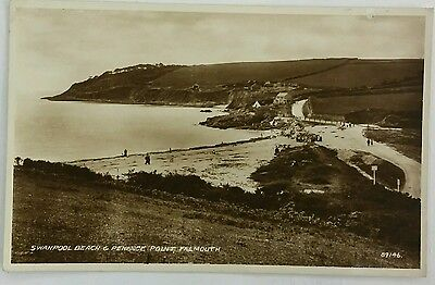 Postcard Swanpool Beach & Penance Point, Falmouth, Cornwall 1938