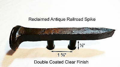 "1-3/4"" Left Sealed Railroad Spike Dresser Drawer Cabinet Handle Antique Vintage"