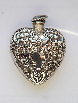 Antique Style Sterling Silver Heart Shaped Scent Bottle