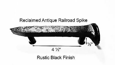 "4-1/2"" Right Black Railroad Spike Dresser Drawer Cabinet Handle Antique Vintage"