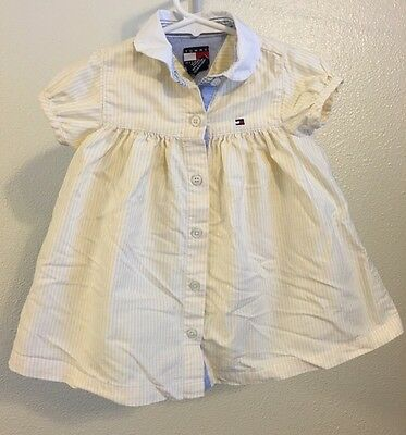 Tommy Hilfiger Toddler Dress Size 12-18 Months Yellow Striped Short-Sleeve