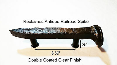 "3-1/2"" Right Sealed Railroad Spike Dresser Drawer Cabinet Handle Antique Vintage"
