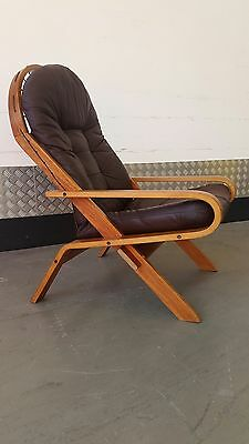 RYKKEN & CO Vintage NORWEGIAN Armchair Design Midcentury  LEATHER Chair