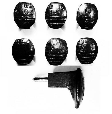 6 Black Easy Screw Railroad Spike Knobs Door Pulls Cupboard Antique Vintage Old