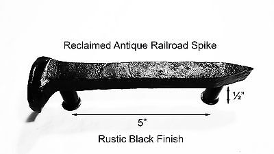 "5"" Left Black Railroad Spike Door Handle Pull Gate Antique Vintage"