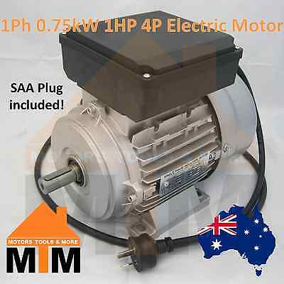 Single Phase Electric Motor 240V 0.75 kW 1 HP 1400rpm 4 Pole