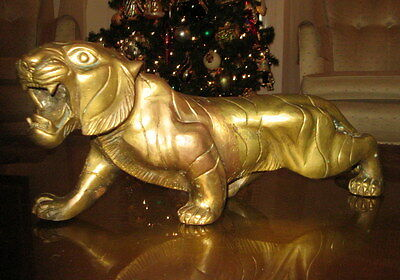 Chinese 19Th Century Or Older Large Antique Brass Tiger Statue