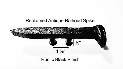 "1-1/2"" Right Black Railroad Spike Dresser Drawer Cabinet Handle Antique Vintage"
