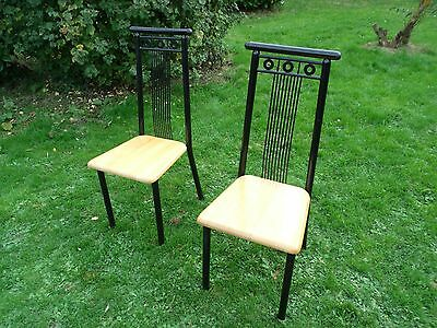 Pair of Stylish Dining Chairs in Metal with Beech Seats