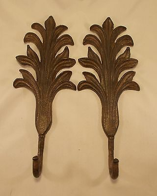 Pair of Rustic Cast Iron Leaf Shaped Coat Hat Towel Hook 12 x 4.5 (0021)