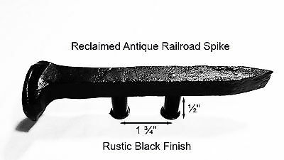 "1-3/4"" Left Black Railroad Spike Dresser Drawer Cabinet Handle Antique Vintage"